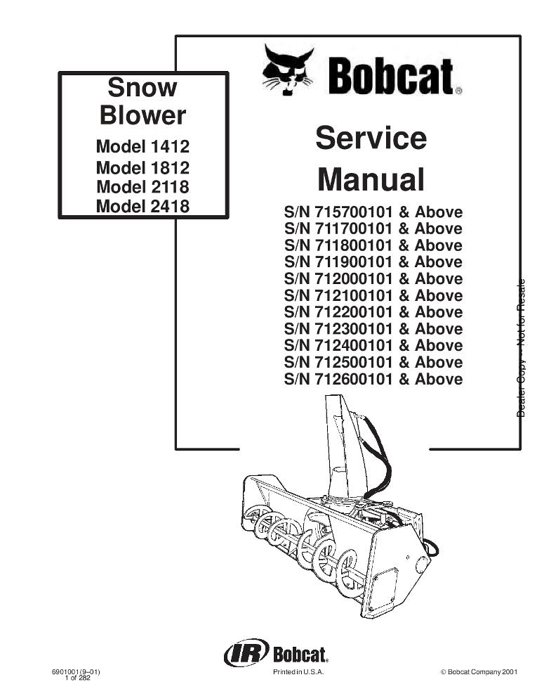 Bobcat Snow Blower Service manual 9-01 PDF Download