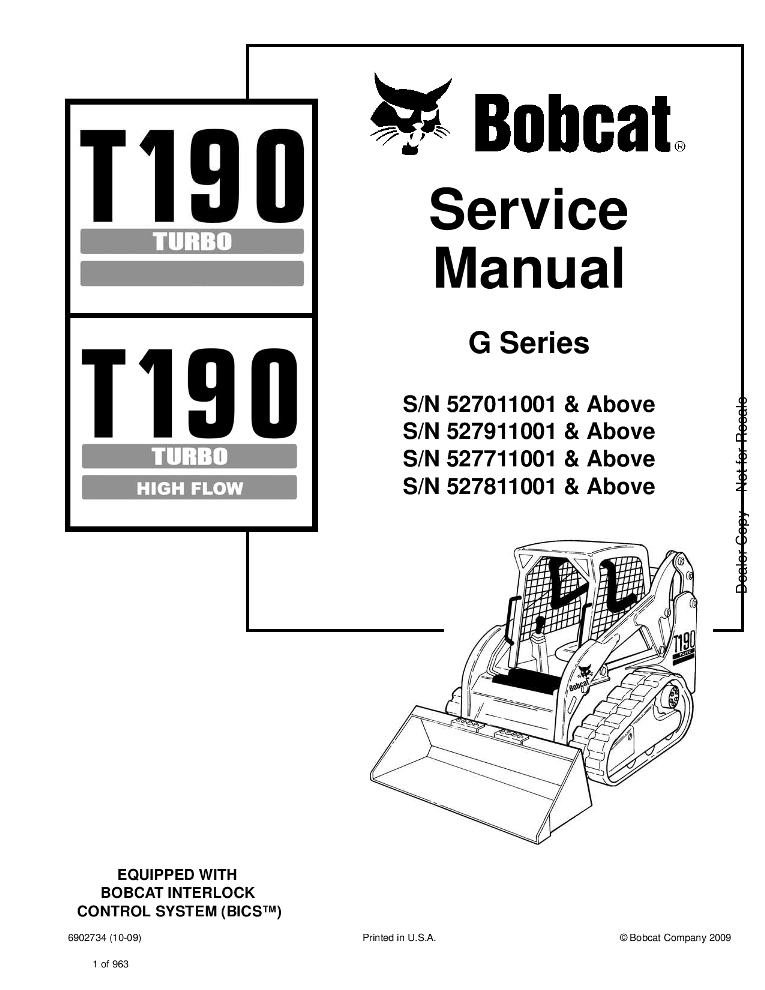 Bobcat T190 Compact Track Loader Service manual 10-09 PDF