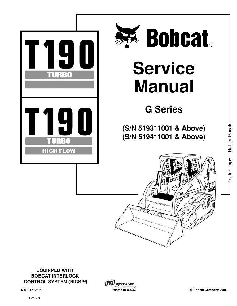 Bobcat T190 Compact Track Loader Service manual 2-06 PDF