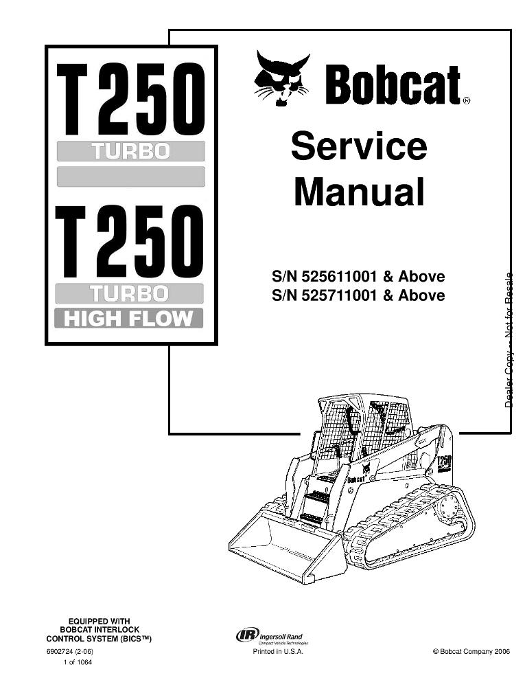 Bobcat T250 Compact Track Loader Service manual 2-06 PDF