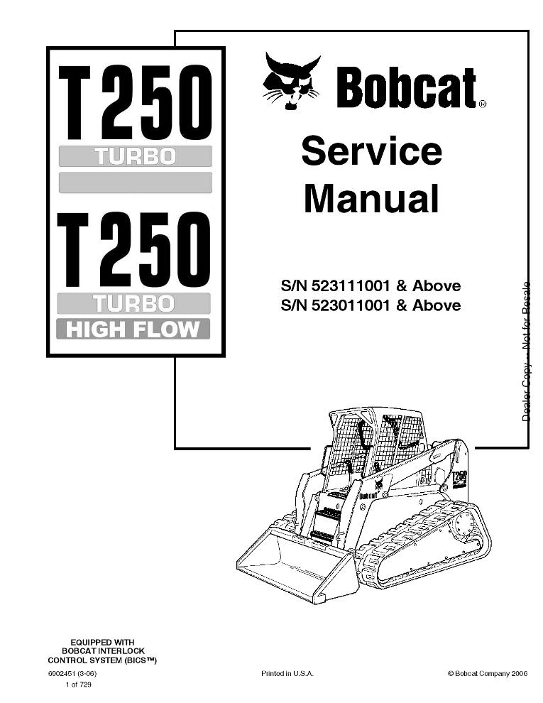 Bobcat T250 Compact Track Loader Service manual 3-06 PDF