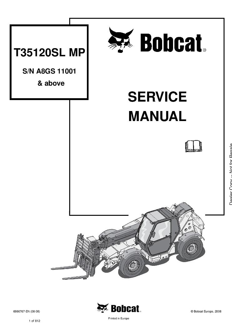 Bobcat T35120 Compact Track Loader Service manual 8-08 PDF