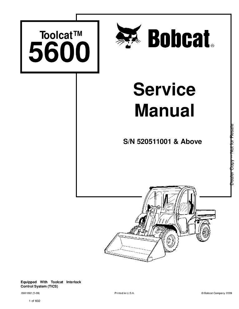 Bobcat Toolcat 5600 Service manual 5-09 PDF Download