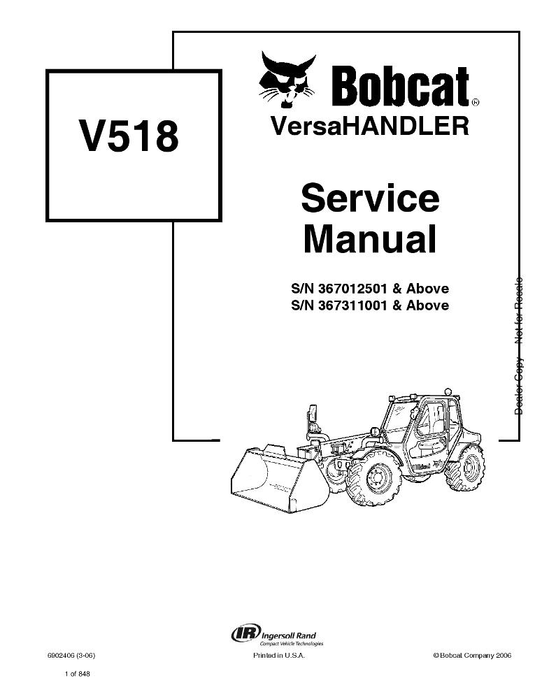 Bobcat V518 VersaHANDLER Service manual 3-062 PDF Download