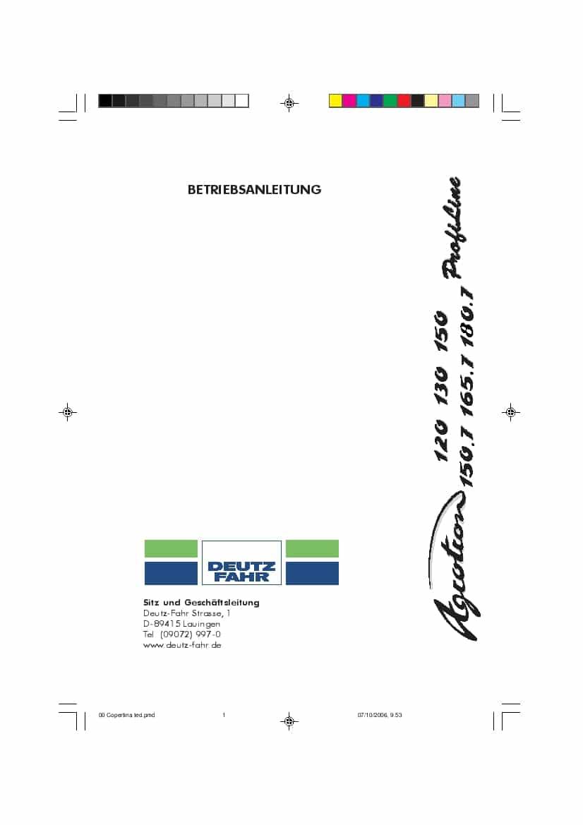 DEUTZ-FAHR AGROTRON 120-130-150-150.7-165.7 Deutsch User