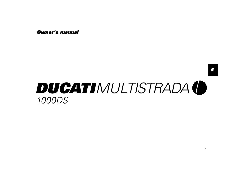 Ducati Multistrada 1000 DS owner s manual PDF Download