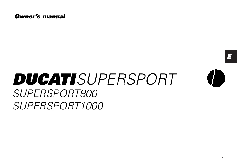 Ducati Supersport 800 1000 owner s manual PDF Download