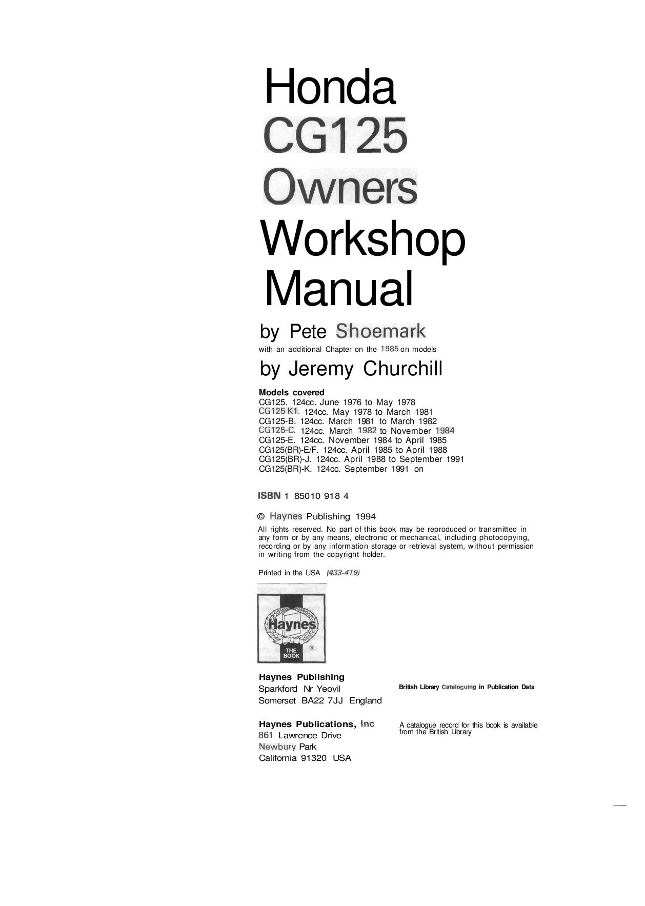 Honda CG 125 1976 1991 Repair Manual PDF Download