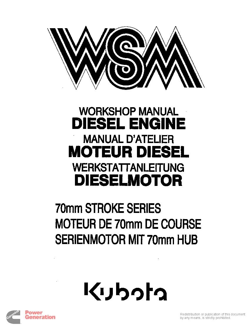 Kubota 70mm stroke engine service manual PDF Download