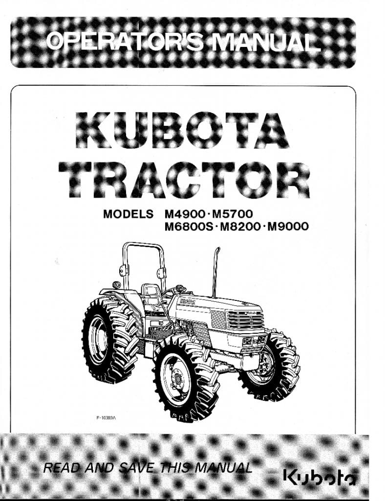 Kubota M4900-M5700-M6800-M8200-M9000 Operation manual PDF