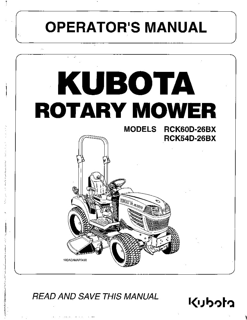 Kubota RCK60D-26BX RCK54D-26BX Operation manual PDF