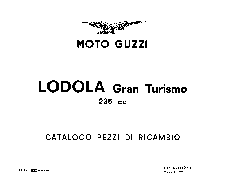 Moto Guzzi Lodola 235 GT 1961 Parts List PDF Download