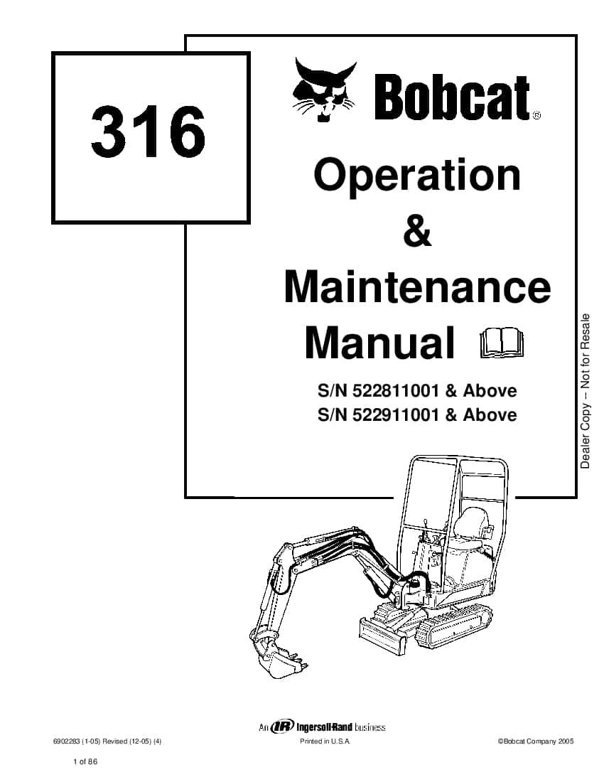 Bobcat 316 EXCAVATOR Operation and Maintenance Manual PDF
