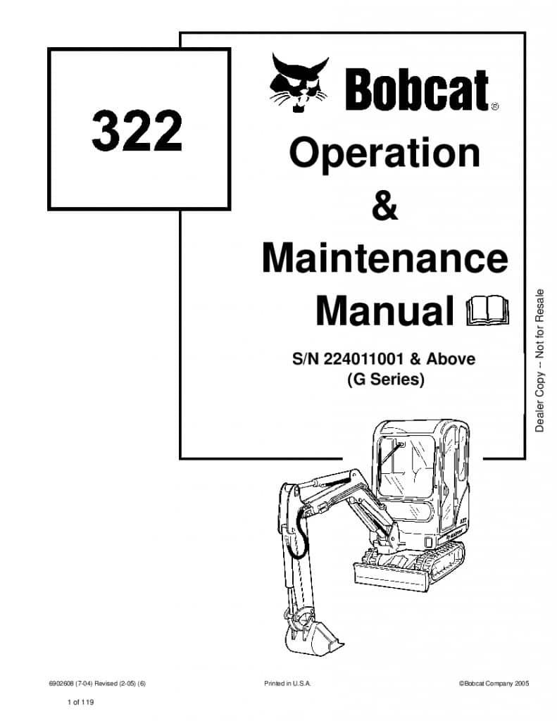 Bobcat 322 EXCAVATOR Operation and Maintenance Manual PDF