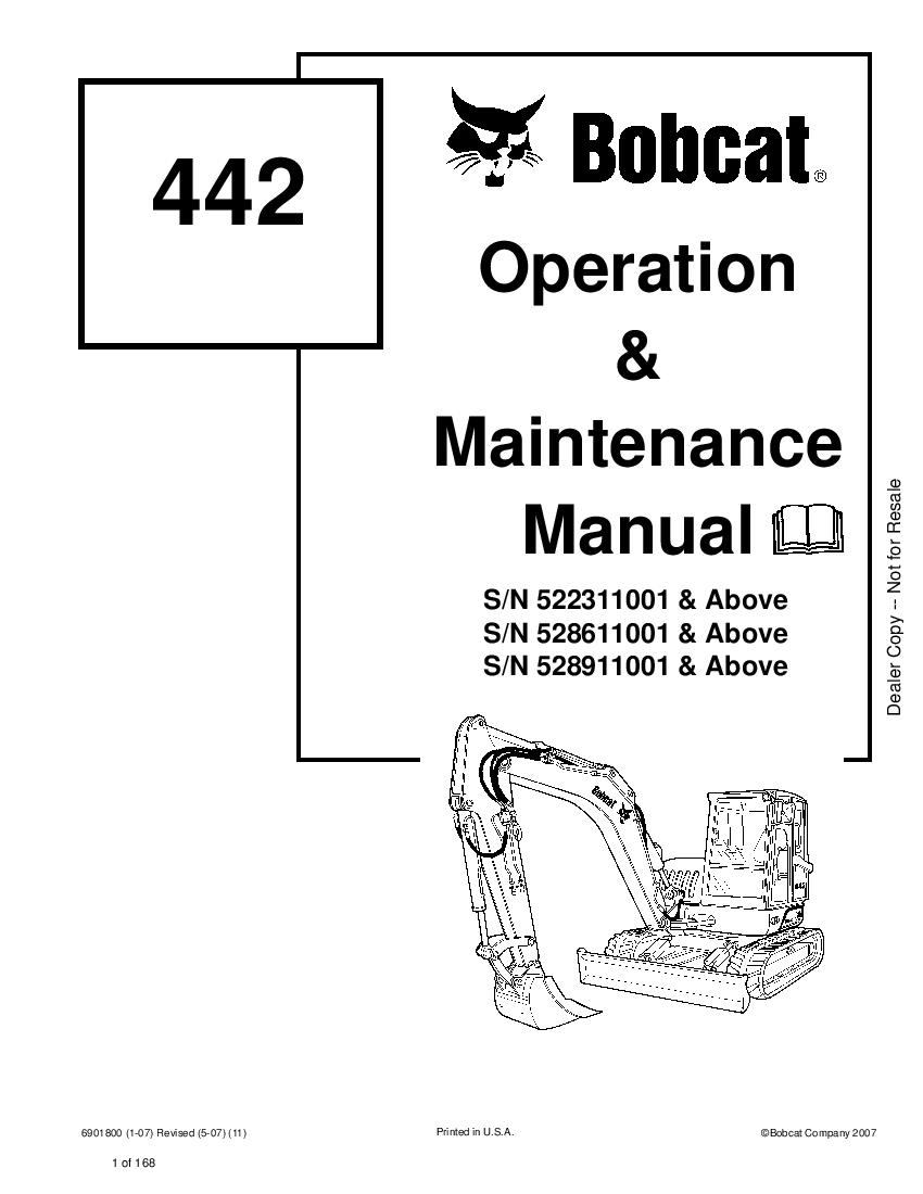 Bobcat 442 Compact Excavator 01 Operation and Maintenance