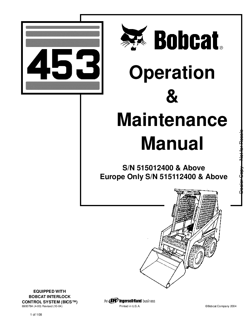 Bobcat 453 SKID STEER LOADER Operation and Maintenance