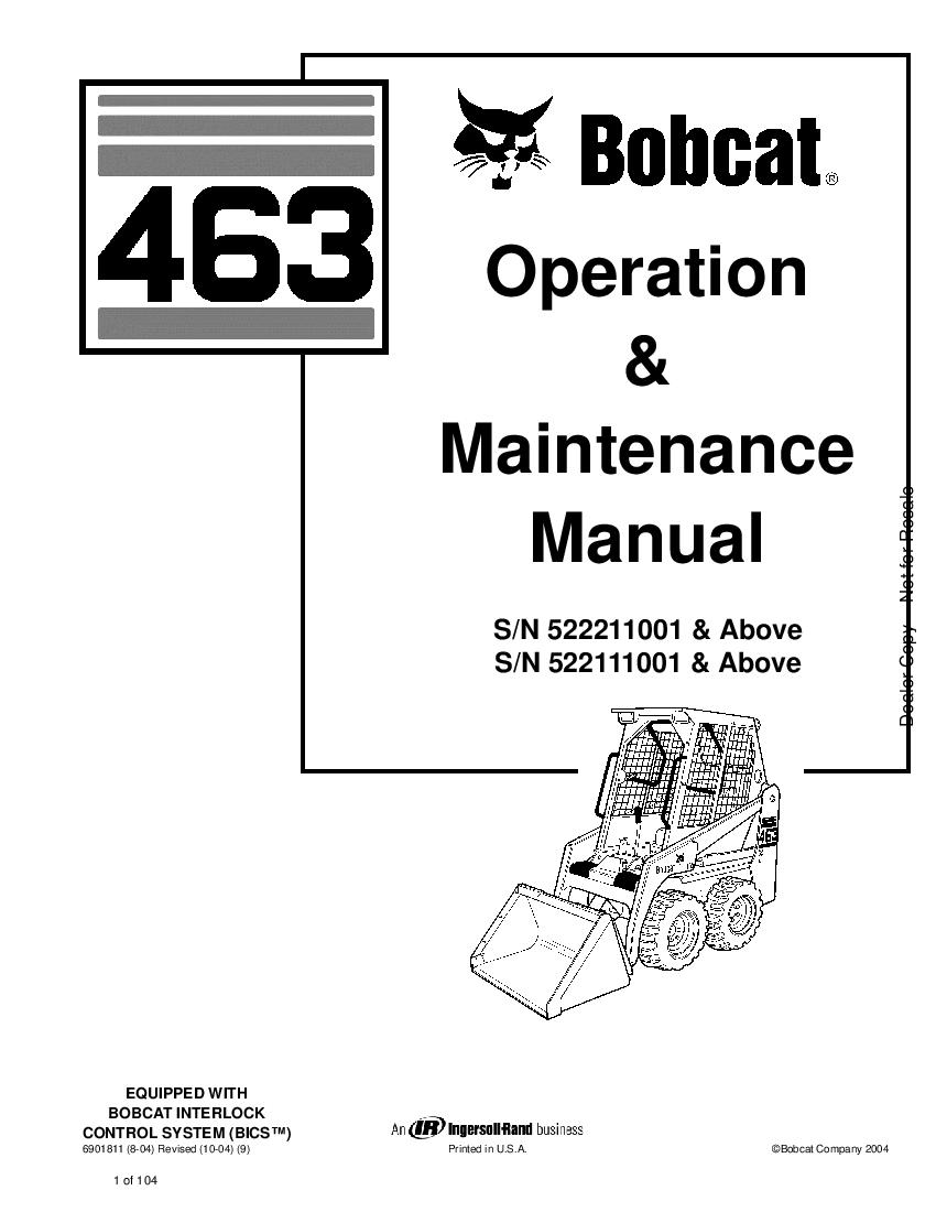 Bobcat 463 SKID STEER LOADER 01 Operation and Maintenance