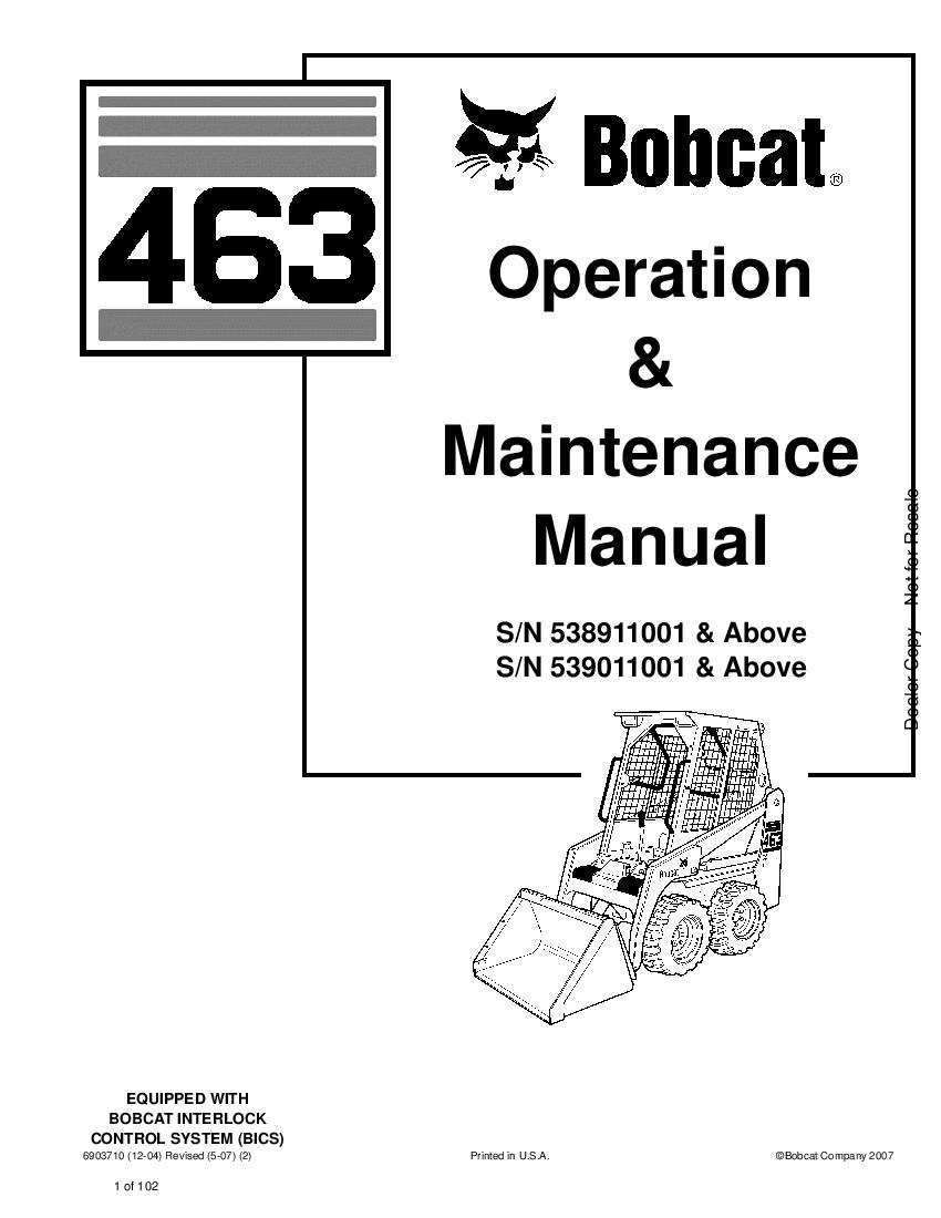 Bobcat 463 SKID STEER LOADER 02 Operation and Maintenance