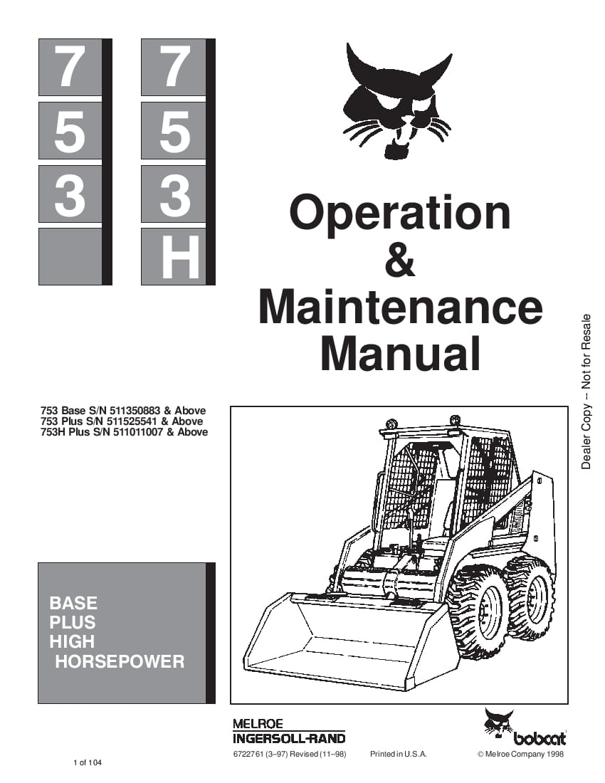 Bobcat 753 753H LOADER Operation and Maintenance Manual