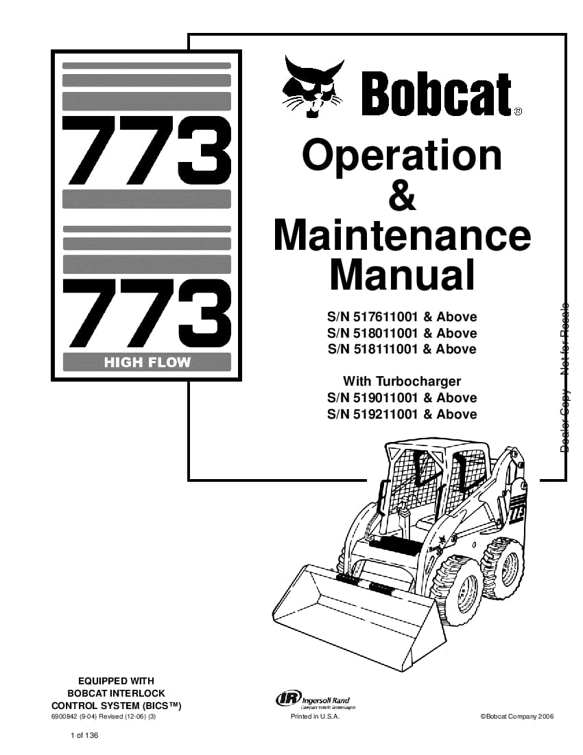 Bobcat 773 773 HIGH FLOW LOADER Operation and Maintenance