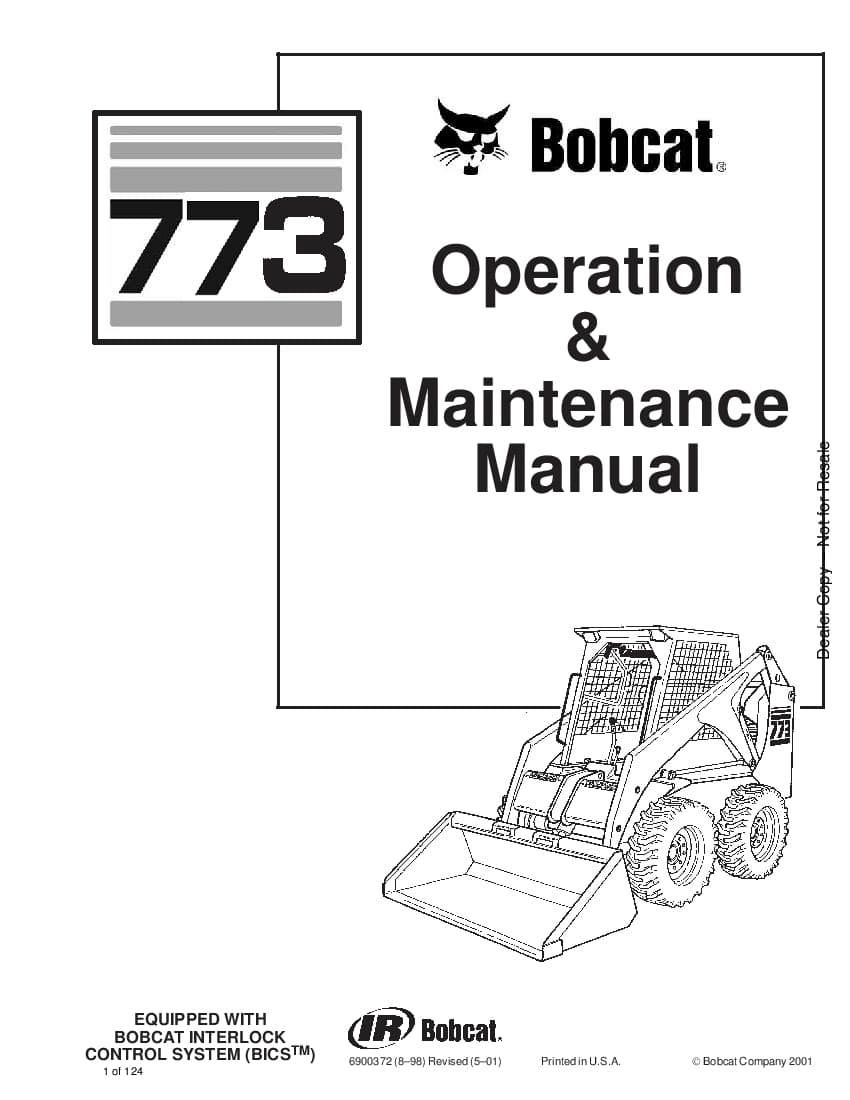 Bobcat 773 LOADER Operation and Maintenance Manual PDF