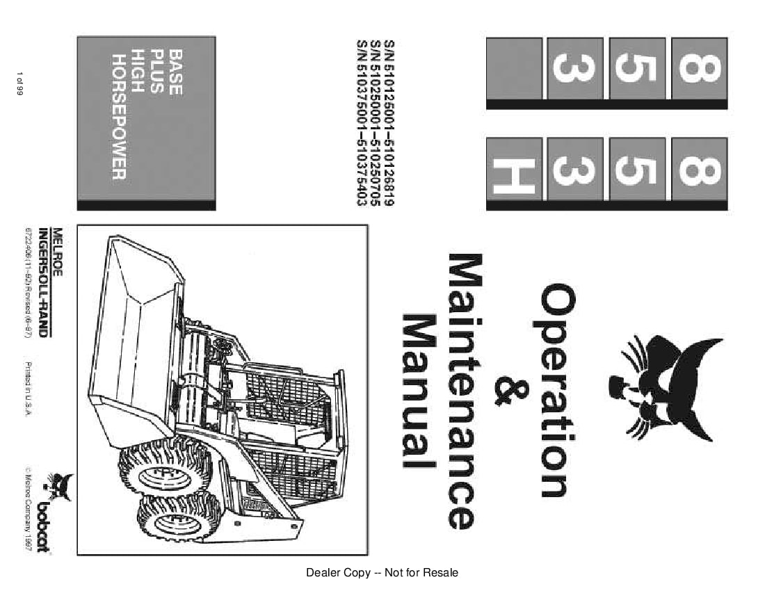 Bobcat 853 853H LOADER Operation and Maintenance Manual