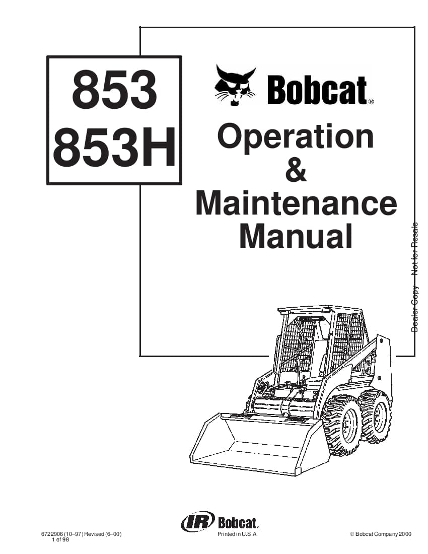Bobcat 853 853H LOADER EQUIPPED WITH INTERLOCK CONTROL