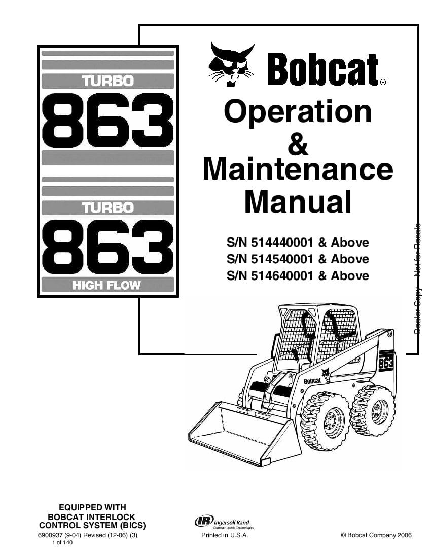 Bobcat 863 863H LOADER HIGH FLOW Operation and Maintenance