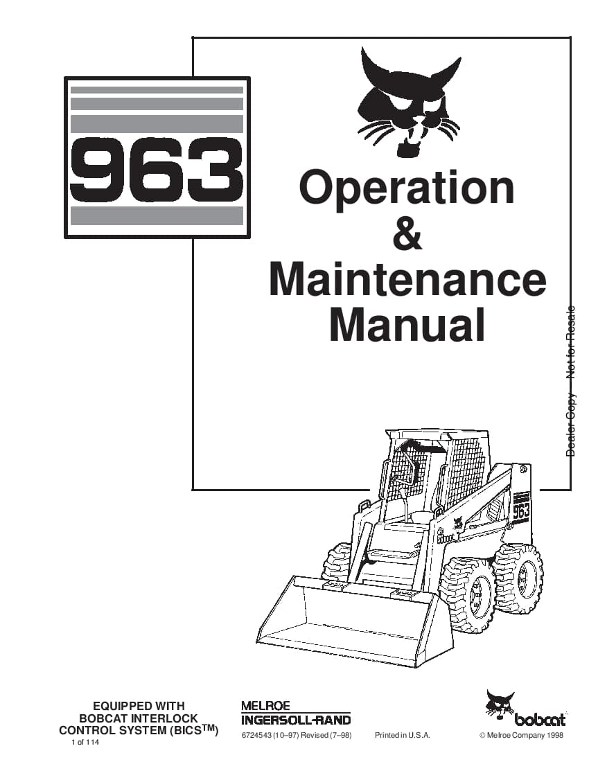 Bobcat 963 LOADER Operation and Maintenance Manual PDF