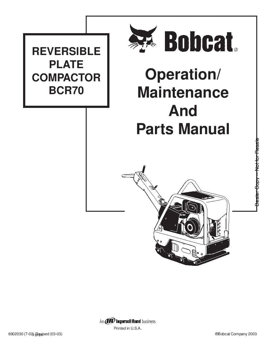 Bobcat BCR70 REVERSIBLE PLATE COMPACTOR 6902030 om 3-03 01