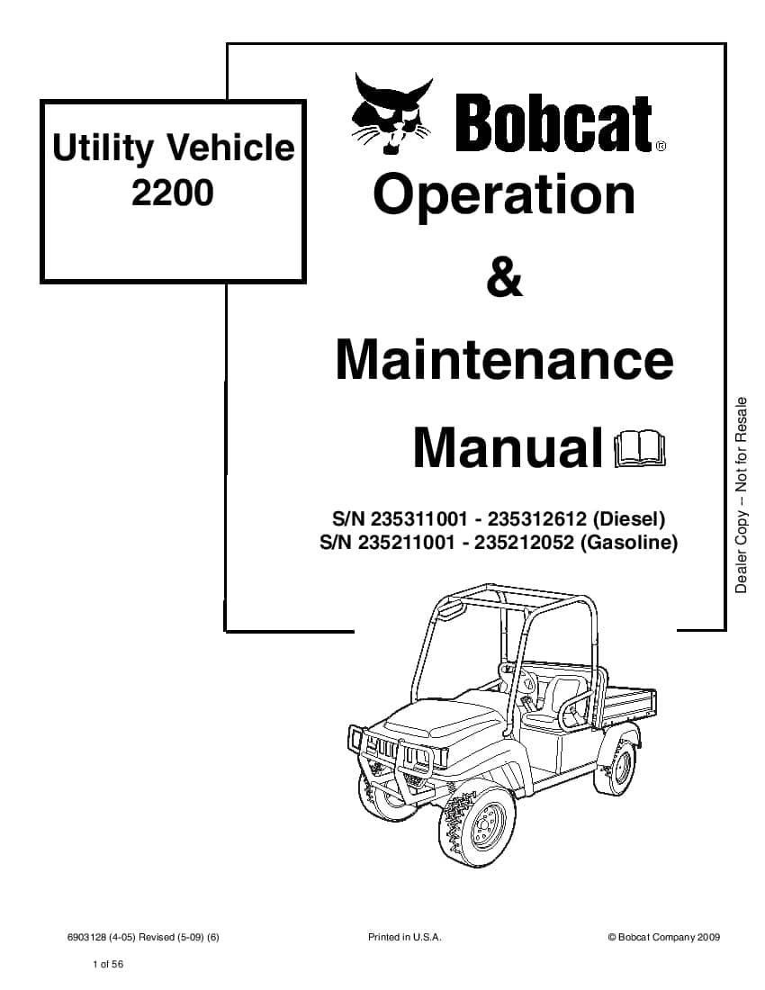 Bobcat Utility Vehicle 2200 SN 235311001235312612 Diesel