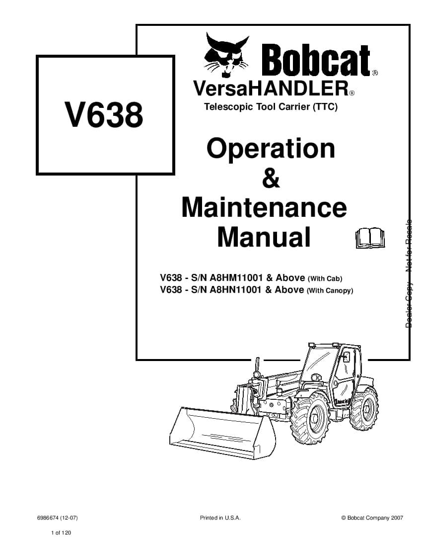 Bobcat V638 6986674 om 12-07 Operation and Maintenance