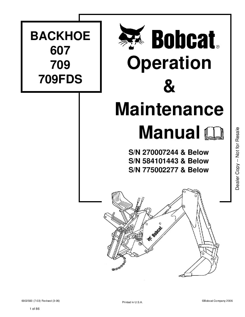 Bobcat backhoe 607-709 6900405 om 4-11 Operation and