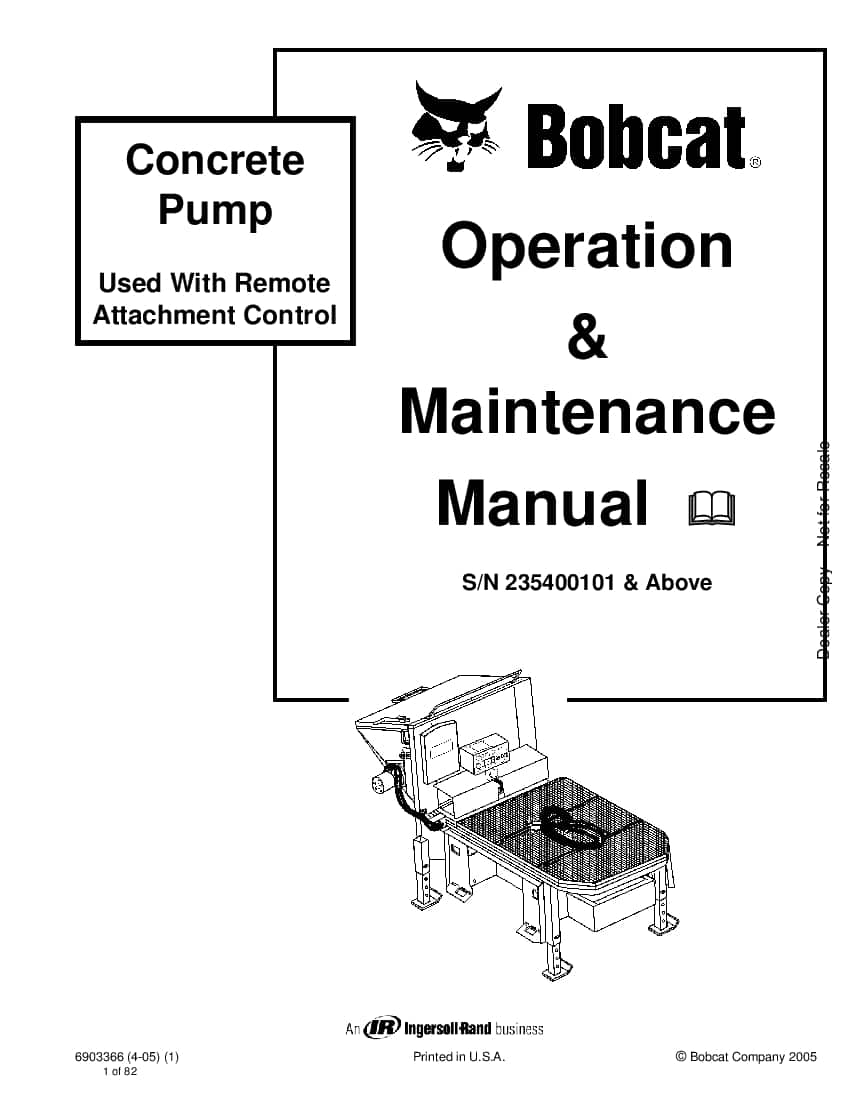 Bobcat concrete pump 6903366 om 4-05 Operation and