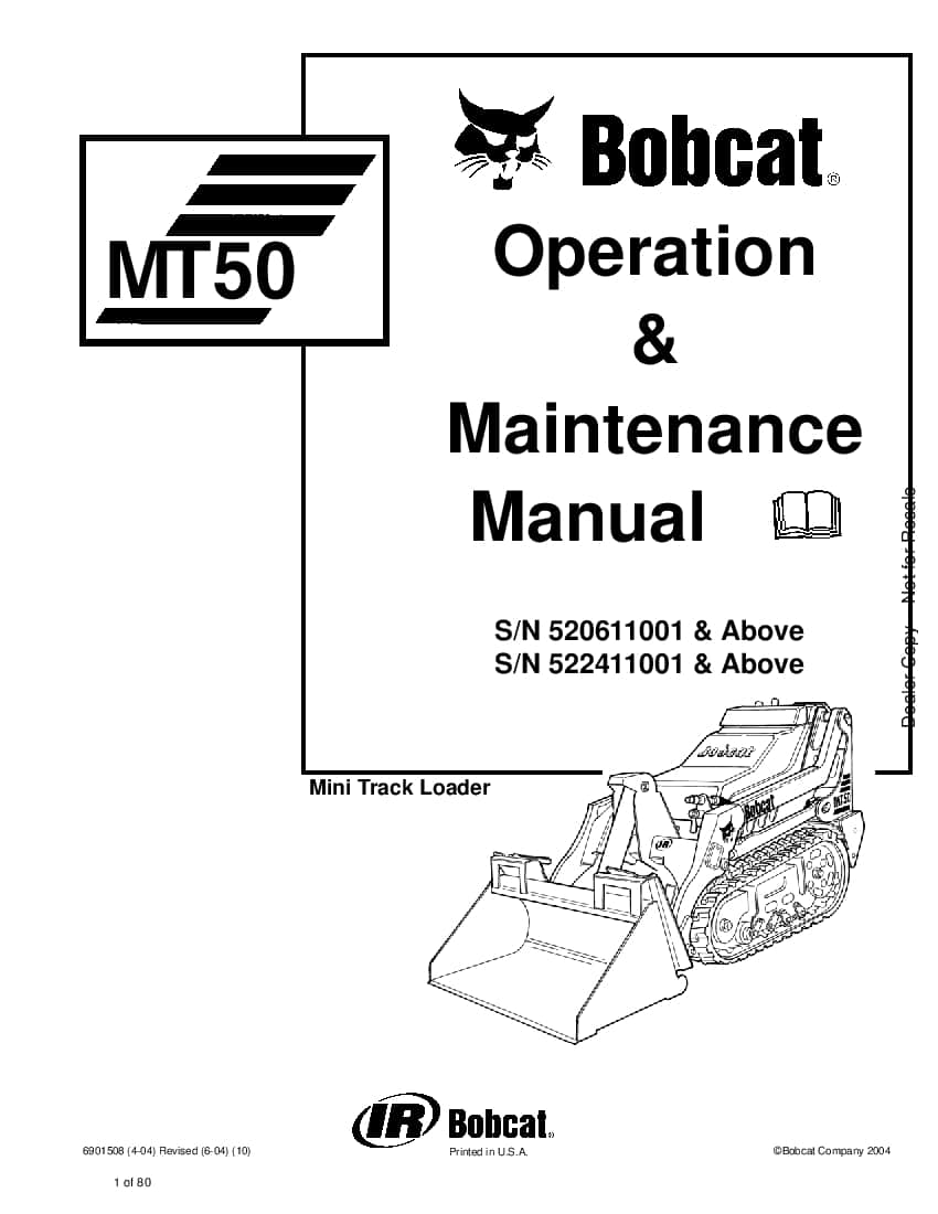 Bobcat mt50 6901508 om 6-04 Operation and Maintenance