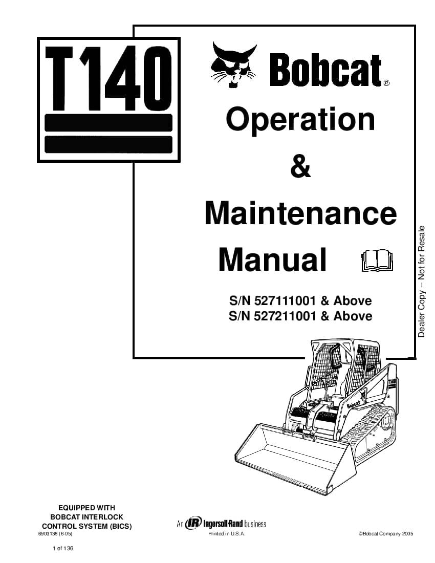 Bobcat t140 Compact Track Loader 6903138 om 6-05 Operation