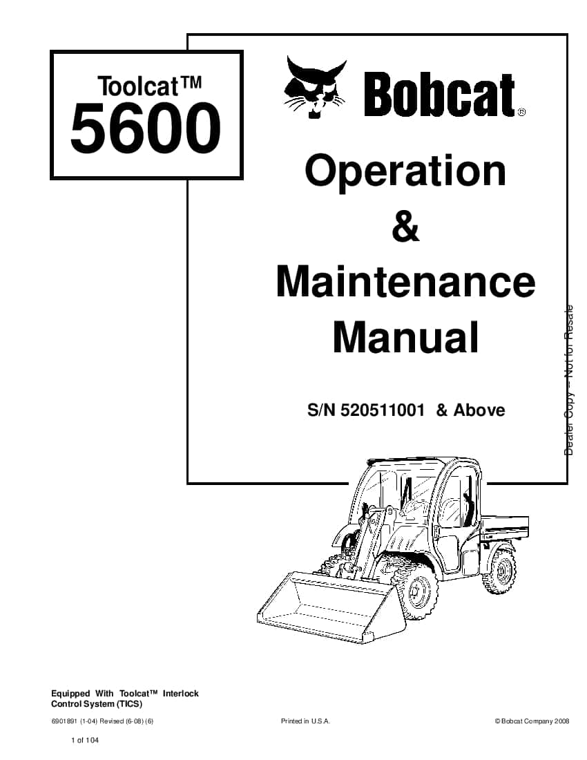 Bobcat toolcat 5600 6901891 om 6-08 Operation and