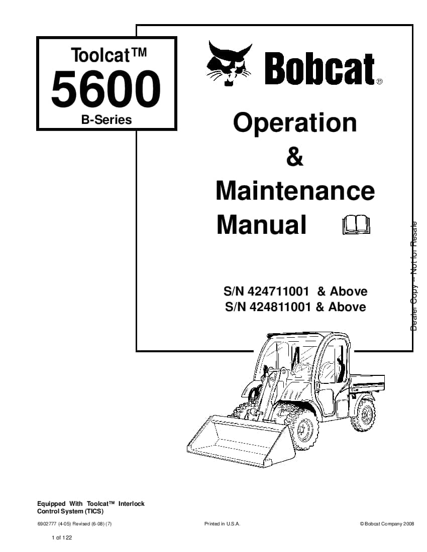 Bobcat toolcat 5600 B-Series 6902777 om 6-08 Operation and