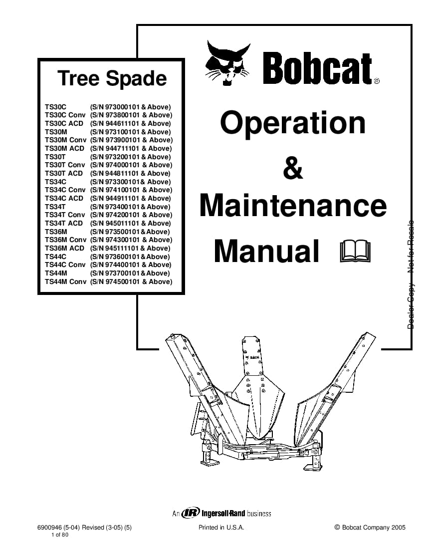 Bobcat tree spade 6900946 om 3-05 Operation and