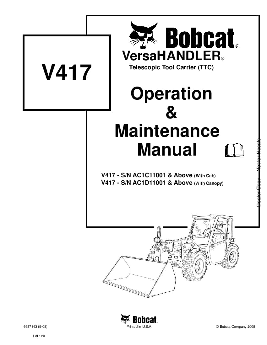 Bobcat v417 6987143 om 9-08 Operation and Maintenance