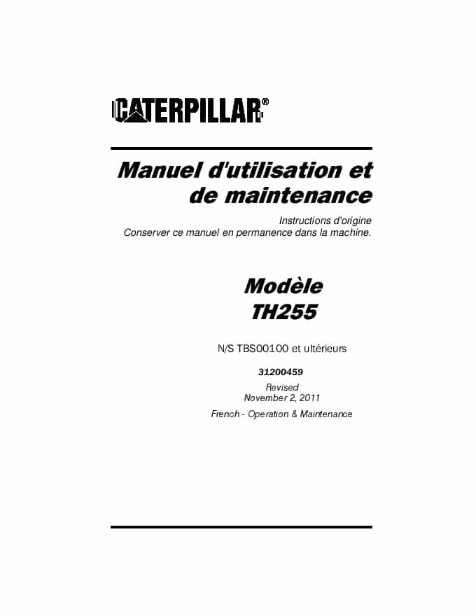 Cat Telehandler TH255 Operation and Maintenance Manual
