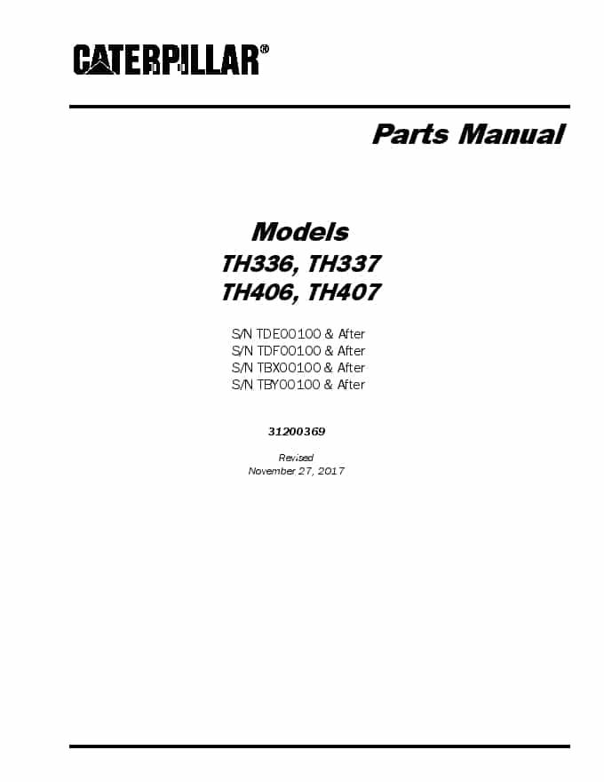 Cat Telehandler TH336 TH337 TH406 TH407 Parts Manual PDF