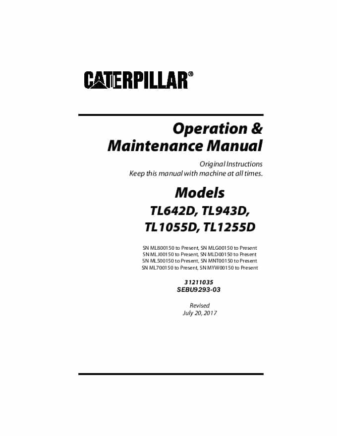 Cat Telehandler TL642D,TL943D,TL1055D,TL1255D Operation