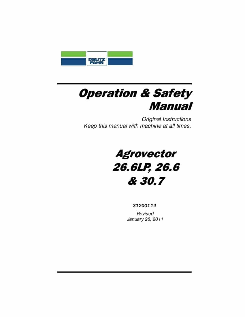 Deutz-Fahr Agrovector 26.6 26.6LP 30.7 Operation and