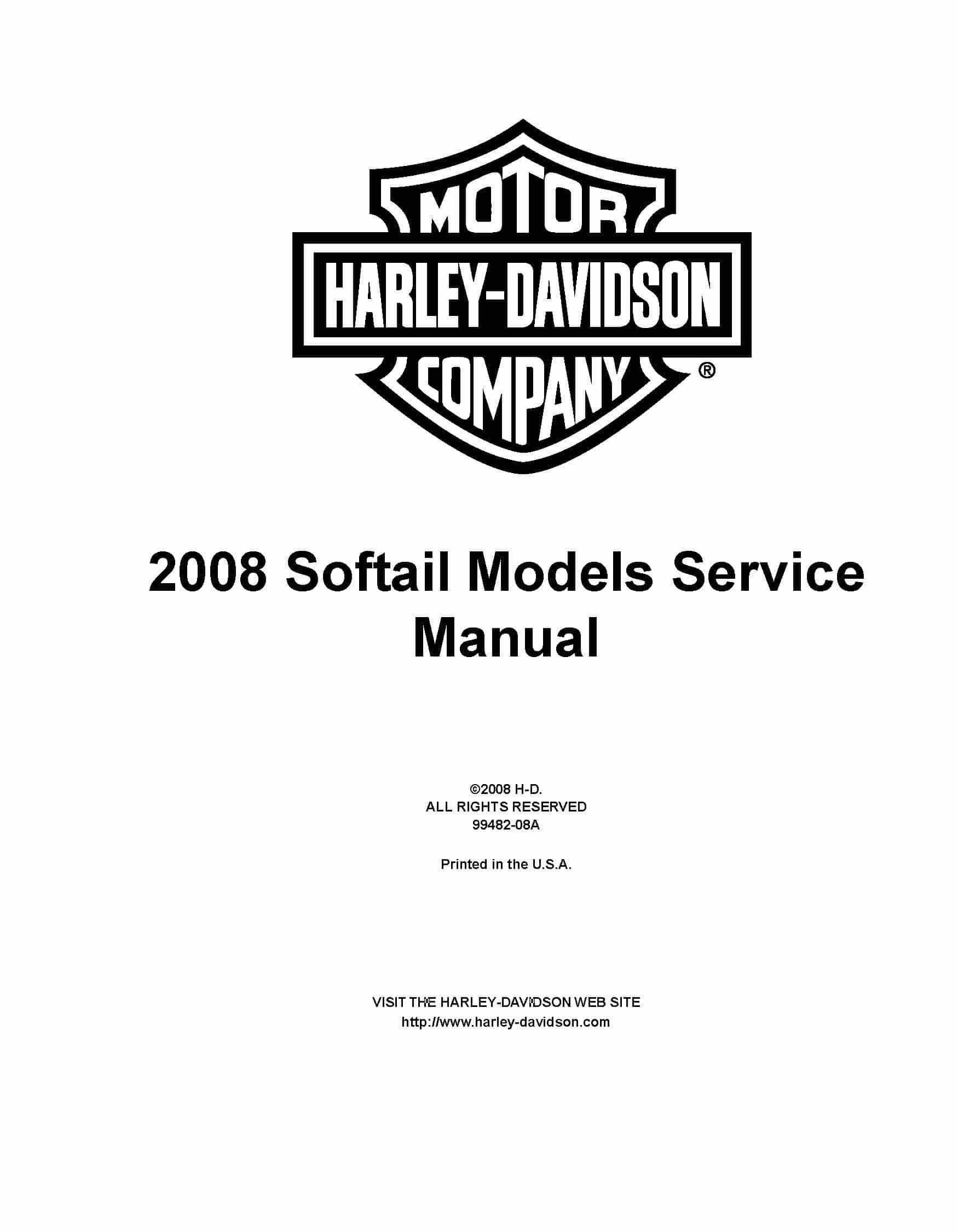 Harley Davidson Softail FXSBSE 2013 Supplement Service