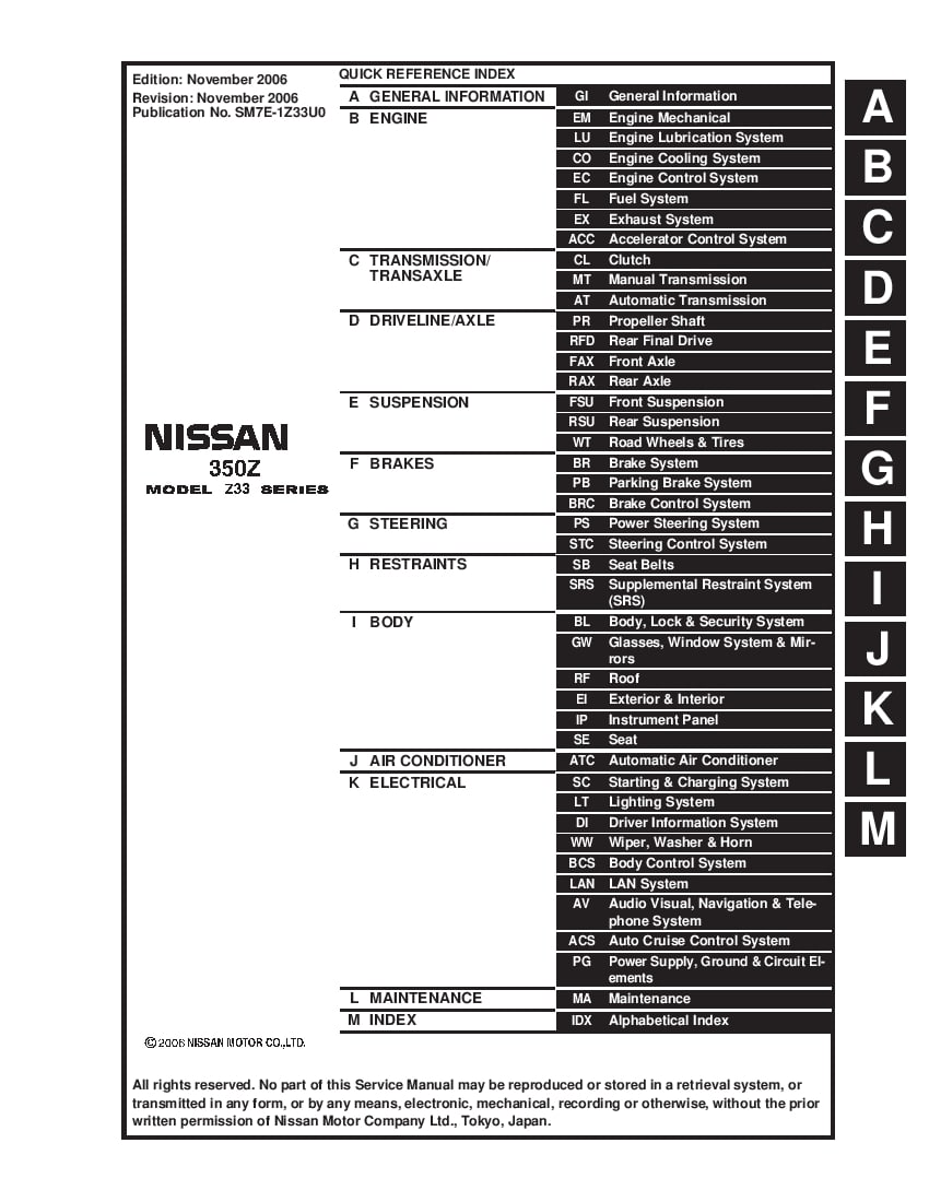 Nissan 350Z 2003-2007 Full Repair Service Manual Download