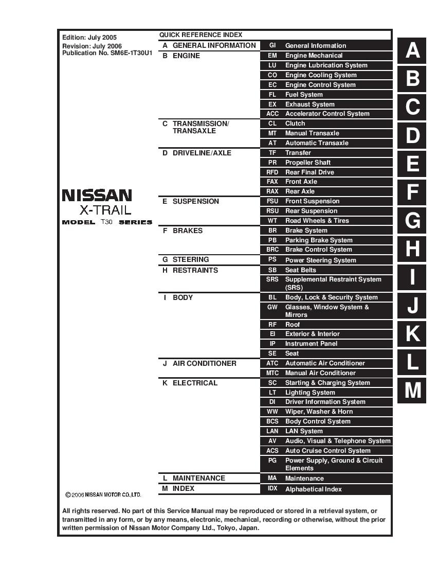 Nissan X-Trail 2005 2006 Full Repair Service Manual