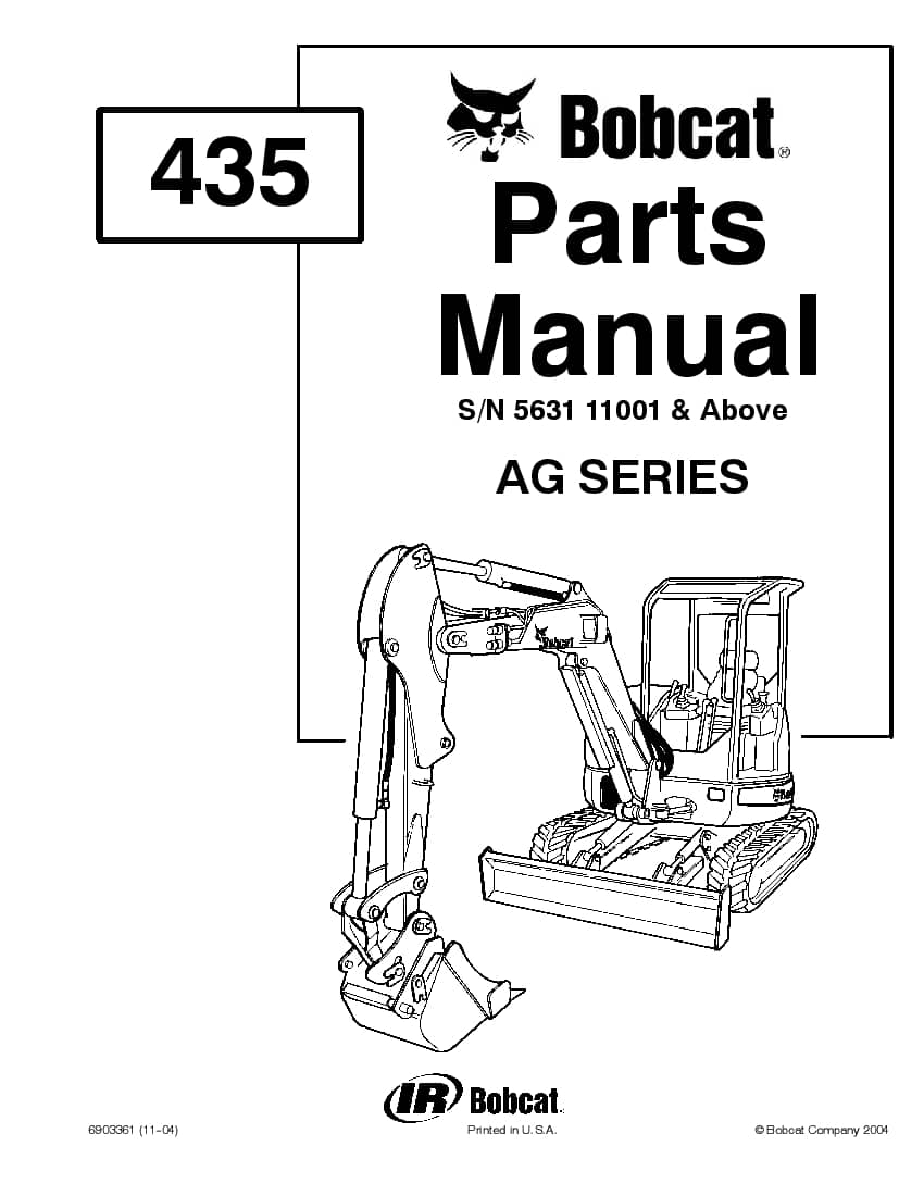 BOBCAT 435 MINI EXCAVATOR Parts Manual PDF Download