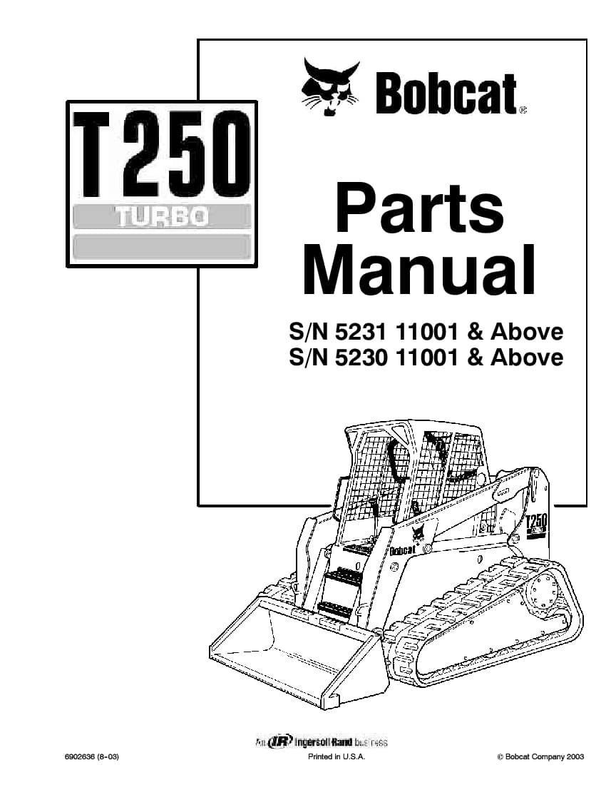 BOBCAT T250 COMPACT TRACK LOADER Parts Manual PDF Download