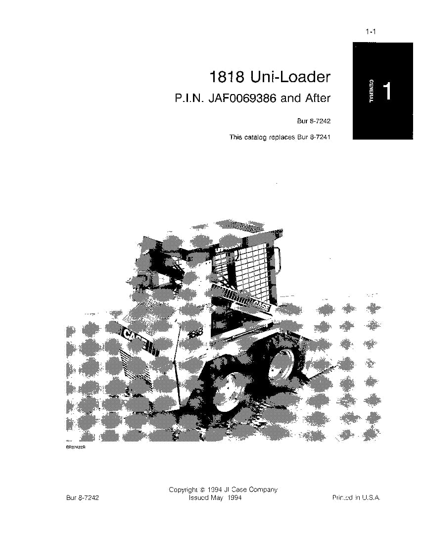 CASE 1818 UNI LOADER SKID STEER PARTS MANUAL PDF Download